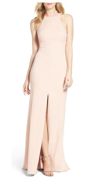 Vera Wang stretch woven mermaid gown in pink champagne - Precisely tailored to skim the figure, this graceful...
