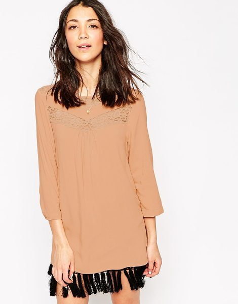 Vero Moda 3/4 sleeve tunic with lace detail in mahogany rose - Top by Vero Moda Soft touch woven fabric Slash neckline...