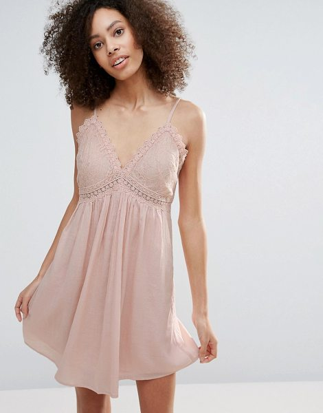 """Vero Moda Babydoll Dress With Lace Insert in pink - """"""""Evening dress by Vero Moda, Lightweight soft-touch..."""