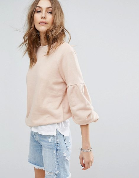 Vero Moda Balloon Sleeve Sweatshirt in beige - Sweatshirt by Vero Moda, Cotton-rich sweat, Crew neck,...