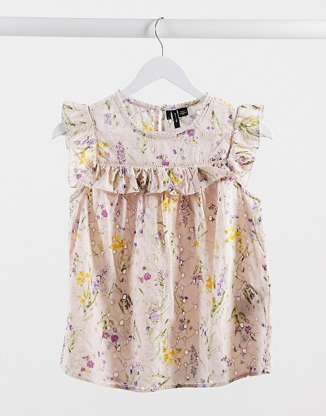 Vero Moda broderie blouse with ruffle trim in pink floral in pink