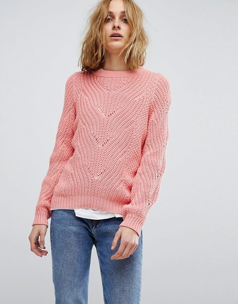 Vero Moda cable knit sweater in strawberryice
