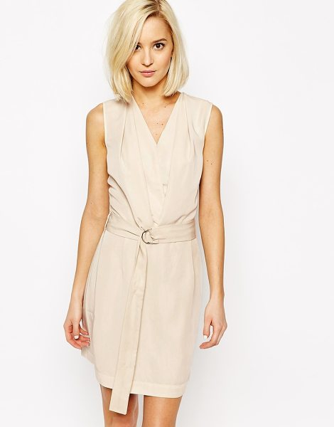 Vero Moda D-ring belted wrap dress in oatmeal - Dress by Vero Moda Woven fabric V-neckline Pleat front...