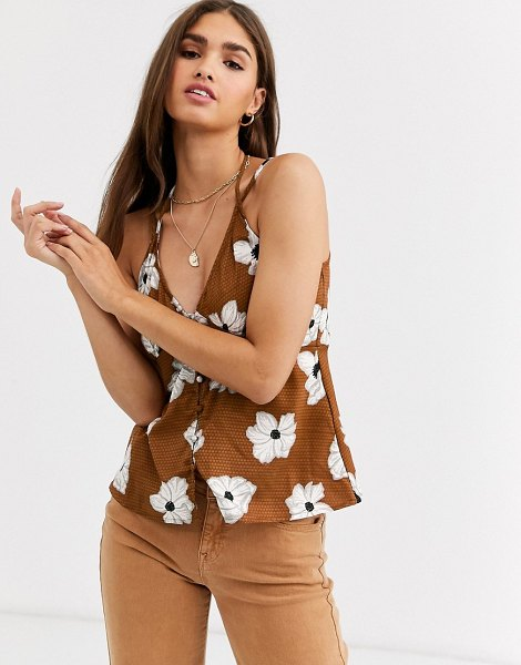Vero Moda floral v front cami top in tortoiseshell