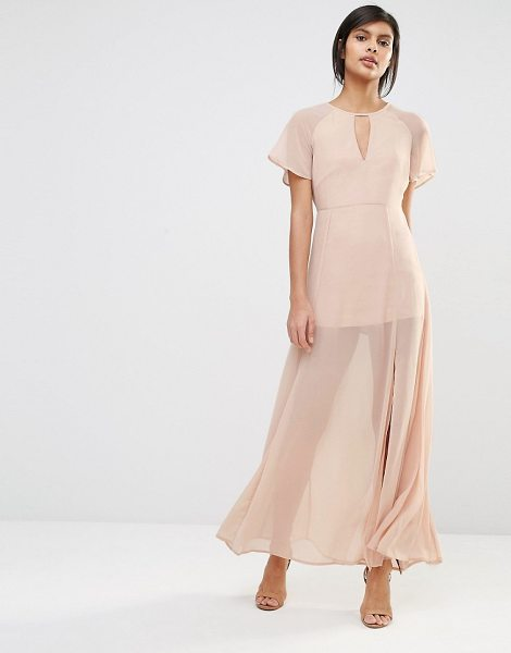 Vero Moda Flutter Sleeve Maxi Dress in pink - Maxi dress by Vero Moda, Sheer chiffon, Mini-length...