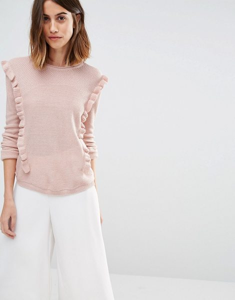 VERO MODA Frill Side Sweater - Sweater by Vero Moda, Knitted fabric, Round neckline,...