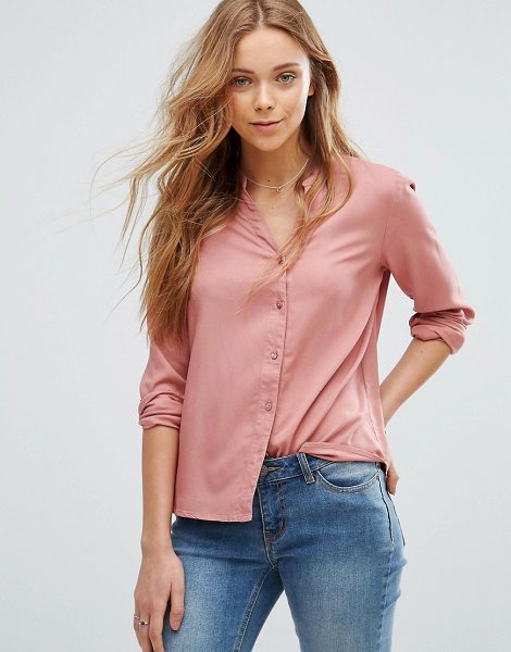 "Vero Moda Grandad Collar Shirt in pink - """"Shirt by Vero Moda, Smooth woven fabric, V-neck with..."