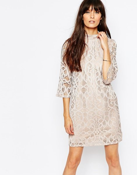 Vero Moda High Neck Lace Dress in pink