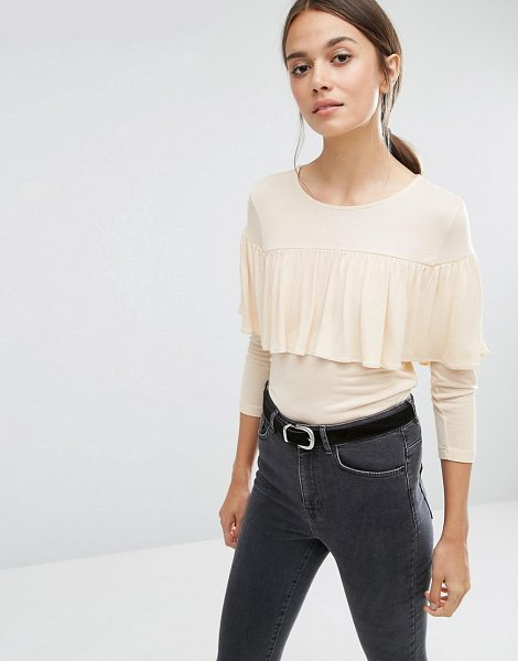 Vero Moda Jersey Ruffle Top in cream - Top by Vero Moda, Soft-touch jersey, Round neckline,...