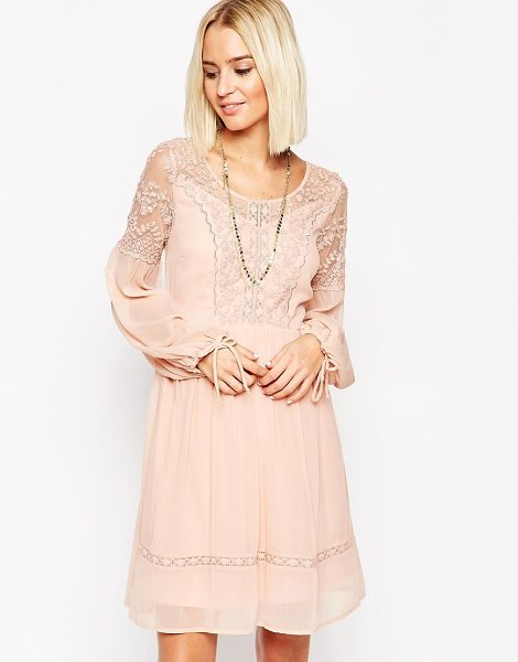 Vero Moda Lace and sheer dress with tie sleeves in rose - Lace dress by Vero Moda Semi-sheer woven fabric...