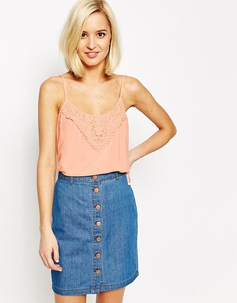 Vero Moda Lace detail cami top in peach - Top by Vero Moda Soft-touch fabric Scoop neckline Lace...