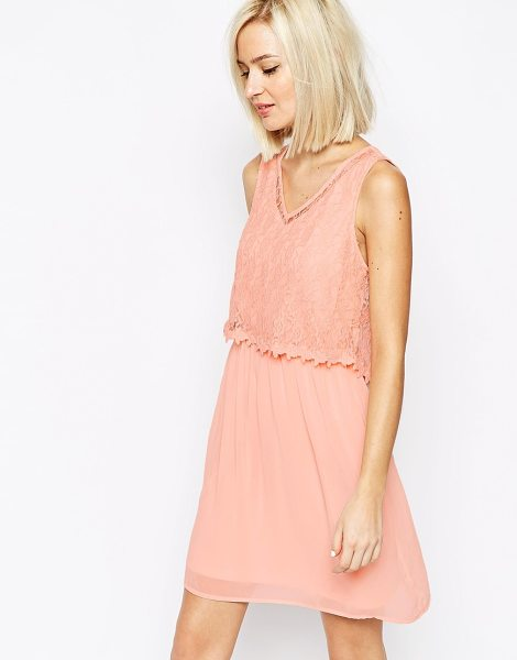 Vero Moda Lace detail dress in pink - Dress by Vero Moda, Lined chiffon, Floral lace overlay...