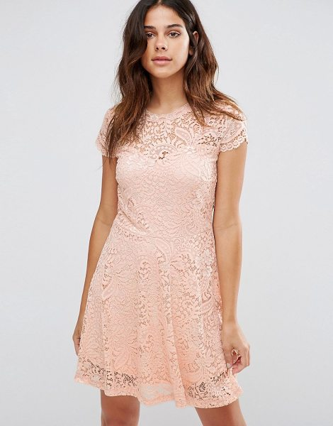 "Vero Moda Lace Mini Dress in pink - """"Casual dress by Vero Moda, Lined lace, Round neckline,..."