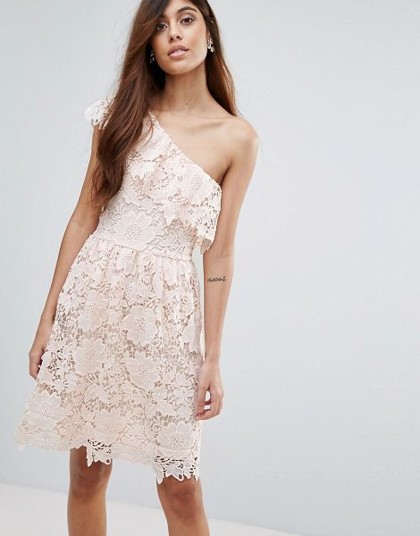 "Vero Moda Lace One Shoulder Dress in pink - """"Lace dress by Vero Moda, Lined cutwork lace,..."