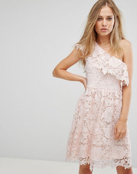 Vero Moda lace one shoulder mini dress in pink in pink