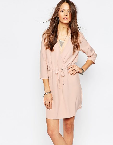 "Vero Moda Long Sleeve Wrap Dress in pink - """"Casual dress by Vero Moda, Woven fabric, Short point..."
