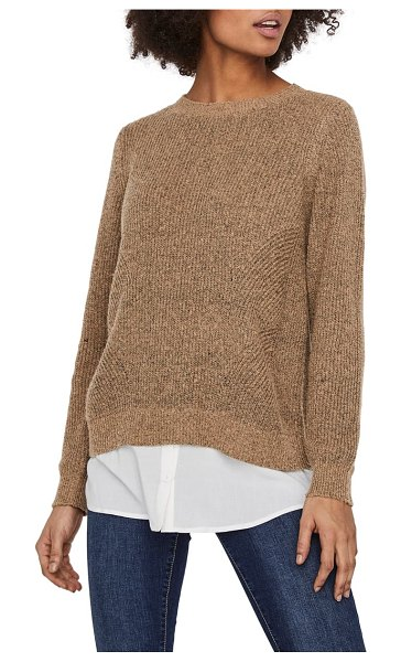 Vero Moda luna crewneck sweater with shirttail hem in beige