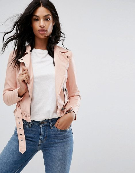Vero Moda Petite Leather Look Belted Biker Jacket in pink - Biker jacket by Vero Moda, Faux-leather outer, Fully...