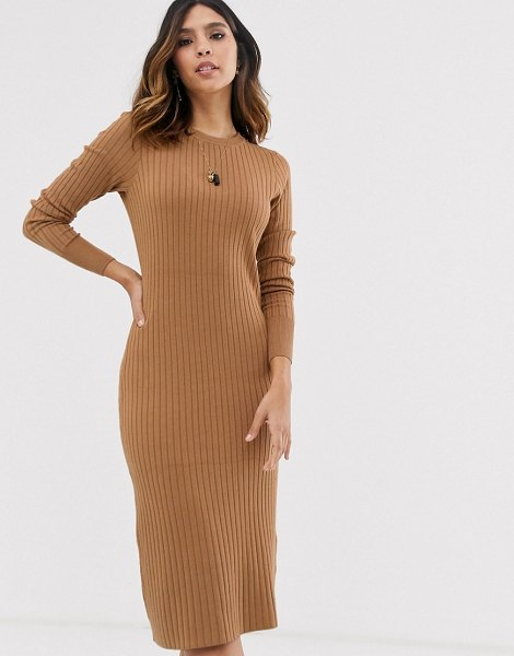 Vero Moda ribbed midi sweater dress in tan in tan
