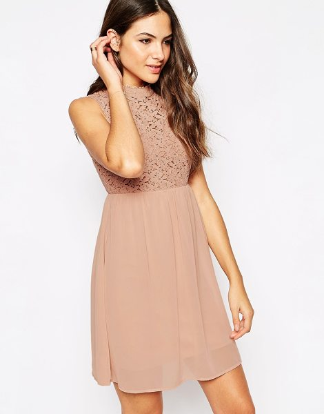 Vero Moda Sleeveless high neck dress with lace insert in mahogany rose - Evening dress by Vero Moda Floral lace bodice, partial...