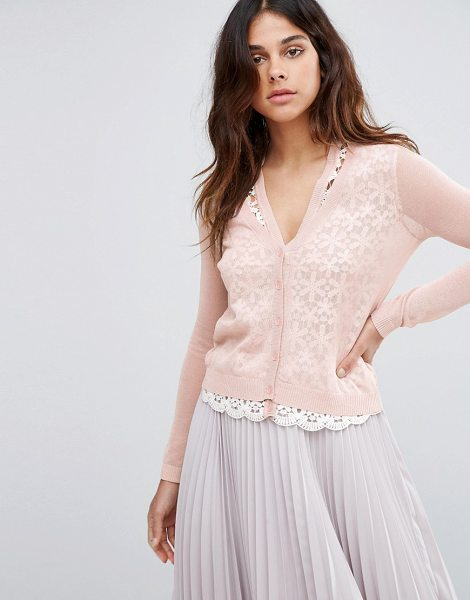 Vero Moda Sweetness Pink Cardigan in pink - Cardigan by Vero Moda, Sheer fine gauge knit, Lace...