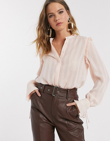 Vero Moda textured blouse with cuff details in blush-pink in pink