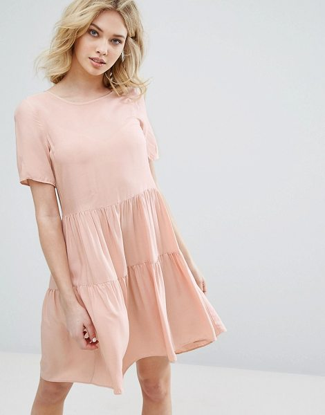 "VERO MODA Tiered Ruffle Smock Dress in pink - """"Dress by Vero Moda, Woven fabric, Round neck, Tiered..."