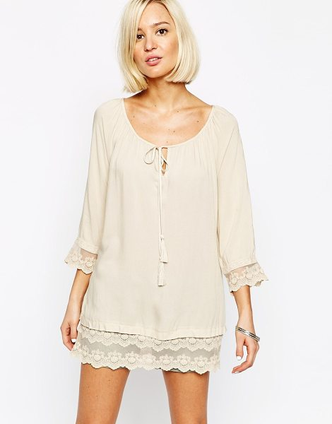 Vero Moda Tunic dress with lace detail edge in oatmeal - Dress by Vero Moda Soft touch woven fabric Scoop...