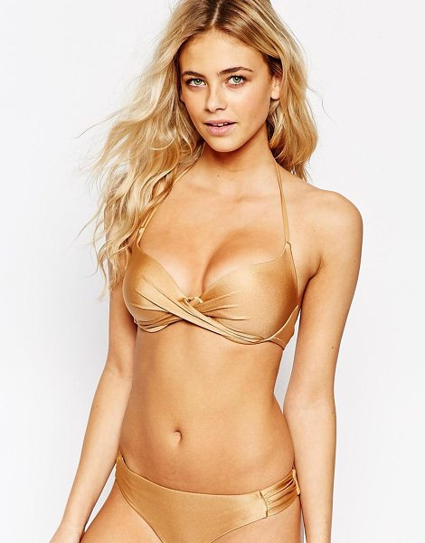 Vero Moda Twist Front Bikini Top in gold - Bikini top by Vero Moda, Stretch swim fabric, Twist...