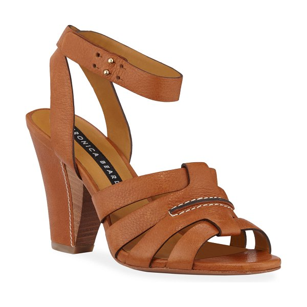 Veronica Beard Charley Leather Ankle-Wrap Sandals in saddle