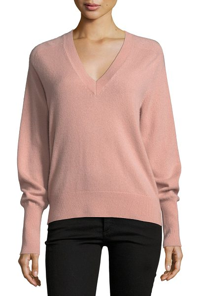 "Veronica Beard Deacon V-Neck Cashmere Pullover Sweater in blush - Veronica Beard ""Deacon"" cashmere sweater. V neckline...."