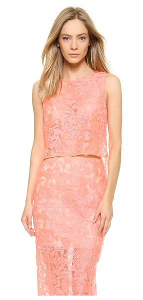 Veronica Beard Embroidered crop top in neon pink/nude - A bold, airy Veronica Beard crop top makes a daring...