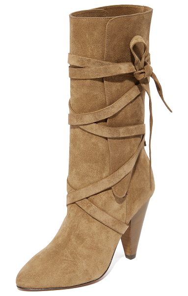 Veronica Beard hall heel boots in khaki - Wraparound straps secure the split shaft on these suede...