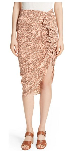 Veronica Beard hazel ruffle ruched silk skirt in cream/ rust - A cascading ruffle and pale-blue chintz silk provide...