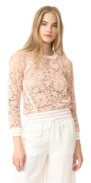 Veronica Beard jett lace top in blush - This Veronica Beard top blends romantic and sporty...