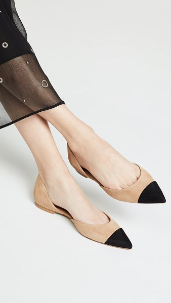 Veronica Beard leonie d'orsay flats in fawn/black - Leather: Goatskin Contrast cap toe D'Orsay silhouette...