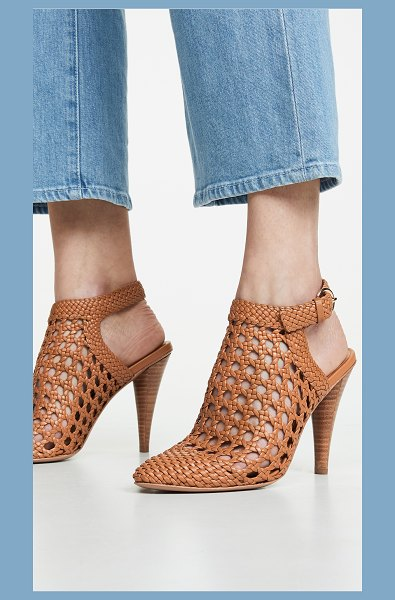Veronica Beard livia heels in almond - Fabric: Faux leather Woven design Sling-back strap...