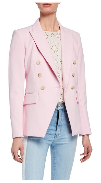 Veronica Beard Lonny Double-Breasted Dickey Jacket in light pink