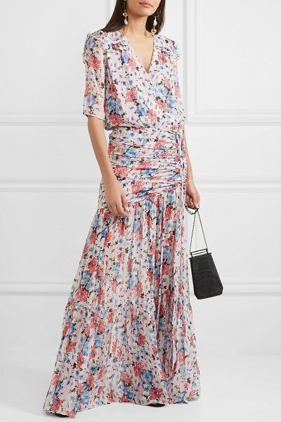 Veronica Beard mick wrap-effect ruched floral-print silk-voile maxi dress in pink
