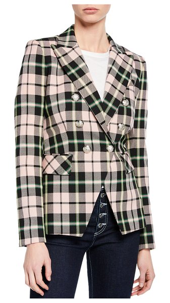 Veronica Beard Miller Plaid Double-Breasted Dickey Jacket in pink pattern