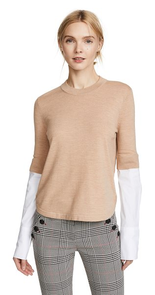 Veronica Beard roscoe mixed media sweater in camel - Exclusive to Shopbop Fabric: Fine knit Pullover style...