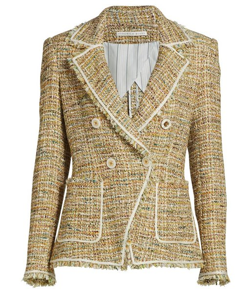 Veronica Beard theron tweed double-breasted jacket in neutral