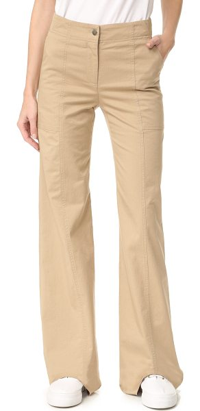 Veronica Beard wanderlust pants in khaki - Crisp Veronica Beard pants with a high-waisted, wide-leg...