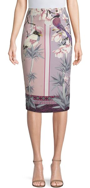 Versace Collection floral-print pencil skirt in pink print - This body-hugging skirt is decorated with blooms, birds...