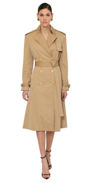 Versace Cotton canvas trench coat in camel