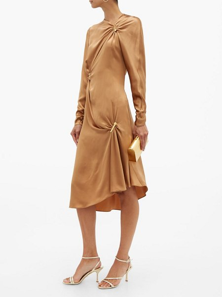 Versace draped safety pinned satin midi dress in brown