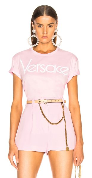 VERSACE Logo Graphic Tee in pink - 100% cotton.  Made in Italy.  Hand wash.  Logo...