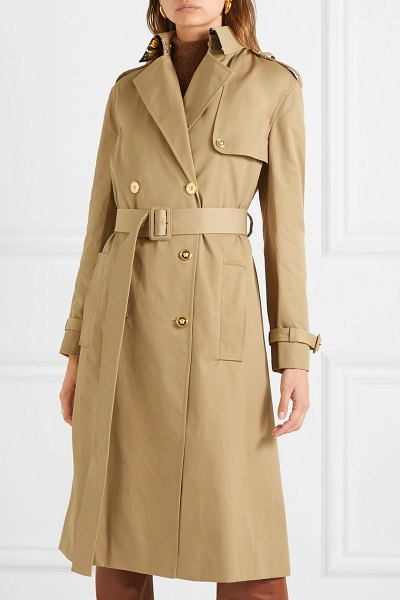 Versace paneled double-breasted gabardine trench coat in beige