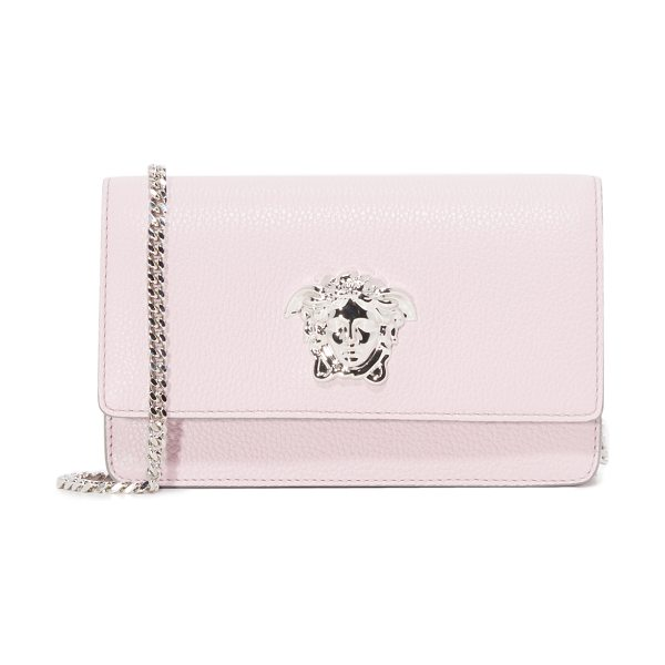 Versace small leather bag in pink/grey - A signature Medusa medallion accents this pebbled...