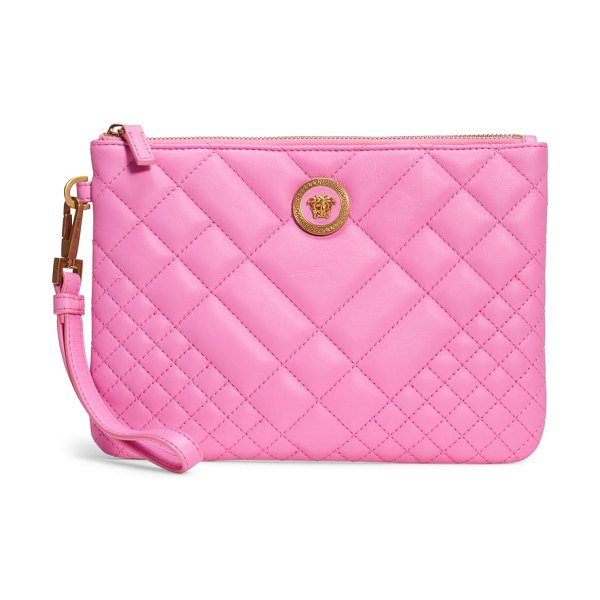Versace tribute icon quilted leather pouch in pink